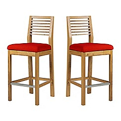 Debenhams - Pair of oak 'Nord' barstools with red fabric seats