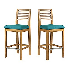 Debenhams - Pair of oak 'Nord' barstools with blue fabric seats