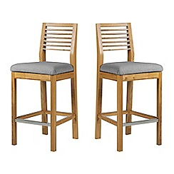 Debenhams - Pair of oak 'Nord' barstools with light grey fabric seats