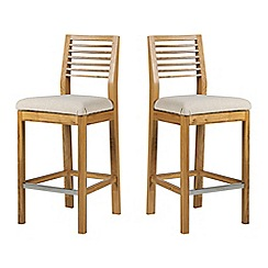 Debenhams - Pair of oak 'Nord' barstools with beige fabric seats