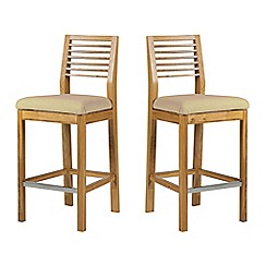 Debenhams - Pair of oak 'Nord' barstools with cream fabric seats