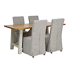 Debenhams - 'Wadebridge' fixed-top table and 4 chairs with grey cover