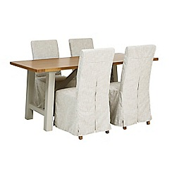 Debenhams - 'Wadebridge' fixed-top table and 4 chairs with cream cover