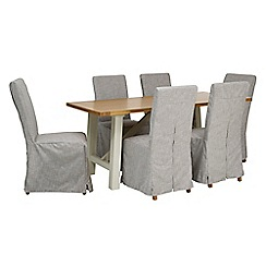 Debenhams - 'Wadebridge' fixed-top table and 6 chairs with grey cover