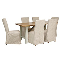 Debenhams - 'Wadebridge' fixed-top table and 6 chairs with cream cover