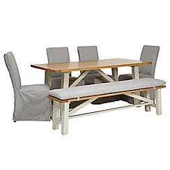 Debenhams - 'Wadebridge' fixed-top table, bench with pad and 4 chairs with grey covers