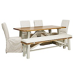 Debenhams - 'Wadebridge' fixed-top table, bench with pad and 4 chairs with cream covers