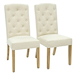 Willis & Gambier - Pair of natural 'Stanza' button back upholstered dining chairs