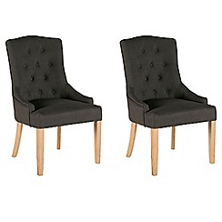 Willis & Gambier - Pair of dark grey 'Paris' button back upholstered carver dining chairs