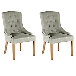 Willis & Gambier - Pair of beige 'Paris' button back upholstered carver dining chairs