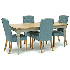 Willis & Gambier - Oak and painted 'Worcester' large extending table and 4 blue 'Stanza' chairs