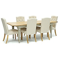 Willis & Gambier - Oak and painted 'Worcester' large extending table and 6 natural 'Stanza' chairs