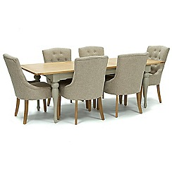 Willis & Gambier - Oak and painted 'Worcester' large extending table and 6 beige 'Paris' chairs