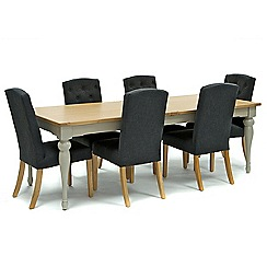 Willis & Gambier - Oak and painted 'Worcester' extra-large extending table and 6 dark grey 'Stanza' chairs