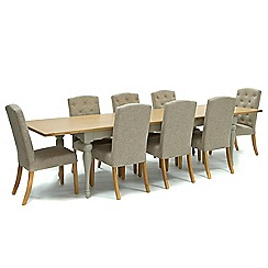 Willis & Gambier - Oak and painted 'Worcester' extra-large extending table and 8 beige 'Stanza' chairs