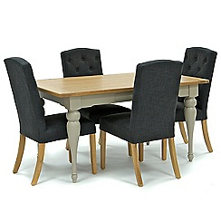 Willis & Gambier - Oak and painted 'Worcester' fixed-top table and 4 dark grey 'Stanza' chairs