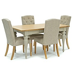 Willis & Gambier - Oak and painted 'Worcester' fixed-top table and 4 beige 'Stanza' chairs