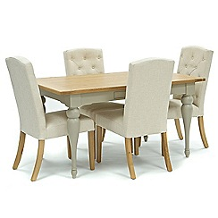 Willis & Gambier - Oak and painted 'Worcester' fixed-top table and 4 natural 'Stanza' chairs