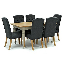 Willis & Gambier - Oak and painted 'Worcester' fixed-top table and 6 dark grey 'Stanza' chairs