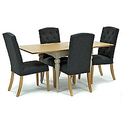 Willis & Gambier - Oak and painted 'Worcester' flip-top table and 4 dark grey 'Stanza' chairs