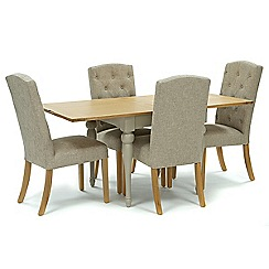 Willis & Gambier - Oak and painted 'Worcester' flip-top table and 4 beige 'Stanza' chairs