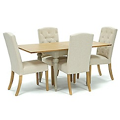 Willis & Gambier - Oak and painted 'Worcester' flip-top table and 4 natural 'Stanza' chairs