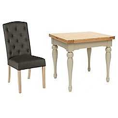 Willis & Gambier - Oak and painted 'Worcester' flip-top table and 6 dark grey 'Stanza' chairs