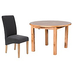 Willis & Gambier - Oak 'Normandy' round extending table and 4 grey 'Fletton' chairs