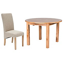 Willis & Gambier - Oak 'Normandy' round extending table and 4 beige 'Fletton' chairs
