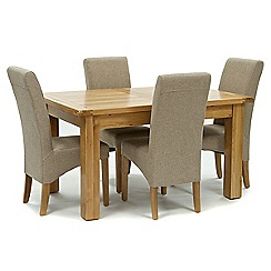 Willis & Gambier - Oak 'Normandy' small extending table and 4 beige 'Fletton' chairs