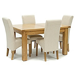 Willis & Gambier - Oak 'Normandy' small extending table and 4 natural 'Fletton' chairs