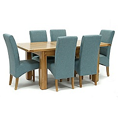 Willis & Gambier - Oak 'Normandy' small extending table and 6 blue 'Fletton' chairs
