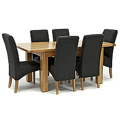 Willis & Gambier - Oak 'Normandy' small extending table and 6 grey 'Fletton' chairs