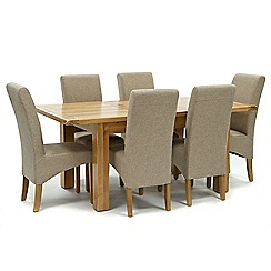 Willis & Gambier - Oak 'Normandy' small extending table and 6 beige 'Fletton' chairs