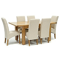 Willis & Gambier - Oak 'Normandy' small extending table and 6 natural 'Fletton' chairs