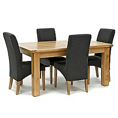 Willis & Gambier - Oak 'Normandy' large extending table and 4 grey 'Fletton' chairs