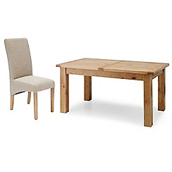 Willis & Gambier - Oak 'Normandy' large extending table and 4 beige 'Fletton' chairs