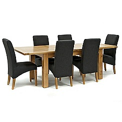 Willis & Gambier - Oak 'Normandy' large extending table and 6 grey 'Fletton' chairs