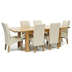 Willis & Gambier - Oak 'Normandy' large extending table and 6 natural 'Fletton' chairs