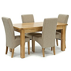 Willis & Gambier - Oak 'Normandy' fixed-top table and 4 beige 'Fletton' chairs