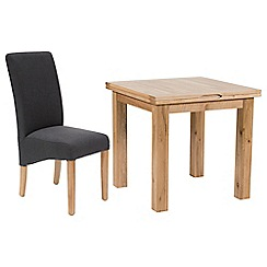 Willis & Gambier - Oak 'Normandy' flip-top table and 4 grey 'Fletton' chairs