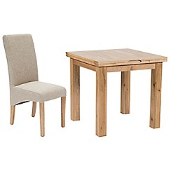 Willis & Gambier - Oak 'Normandy' flip-top table and 4 beige 'Fletton' chairs