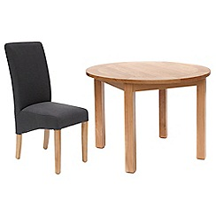 Willis & Gambier - Oak 'Normandy' round fixed-top table and 4 grey 'Fletton' chairs