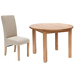 Willis & Gambier - Oak 'Normandy' round fixed-top table and 4 beige 'Fletton' chairs