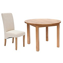 Willis & Gambier - Oak 'Normandy' round fixed-top table and 4 natural 'Fletton' chairs