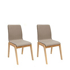 Willis & Gambier - Pair of grey 'Willow' upholstered dining chairs with oak legs