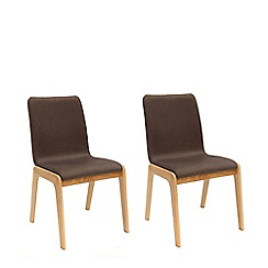 Willis & Gambier - Pair of brown 'Willow' upholstered dining chairs with oak legs