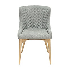 Willis & Gambier - Pair of light grey 'Angelo' quilted upholstered dining chairs with oak legs