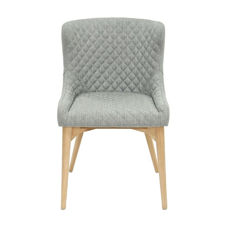 Willis & Gambier Pair of light grey 'Angelo' quilted upholstered dining chairs with oak legs