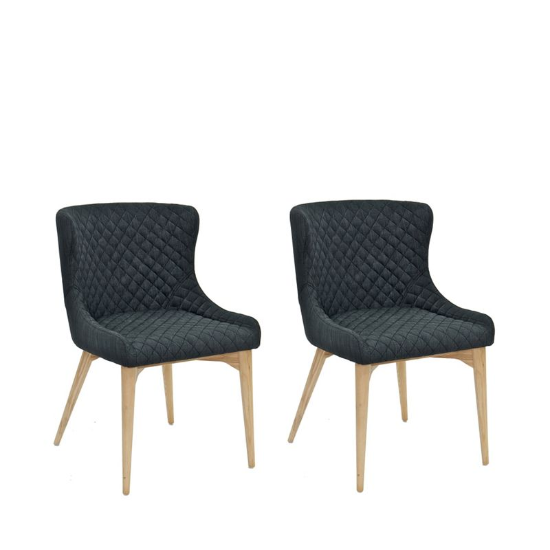 Willis & Gambier - Pair Of Grey 'Angelo' Quilted Upholstered Dining Chairs With Oak Legs
